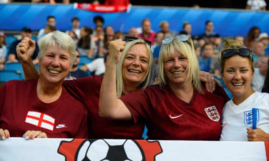 England fans enjoy the atmosphere in Le Havre before the World Cup quarter-final against Norway in June 2019.