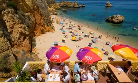A beach bar perched above Praia Dona Ana, Lagos.
