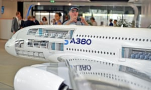 A model of an A380 at the Airbus HQ near Toulouse, France.