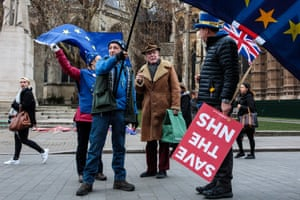 A pro-EU demonstration outside the Houses of Parliament in Westminster, London, UK