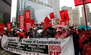 Protesters call for an increase in minimum wage during a March on McDonald's in Chicago, Illinois Tuesday.