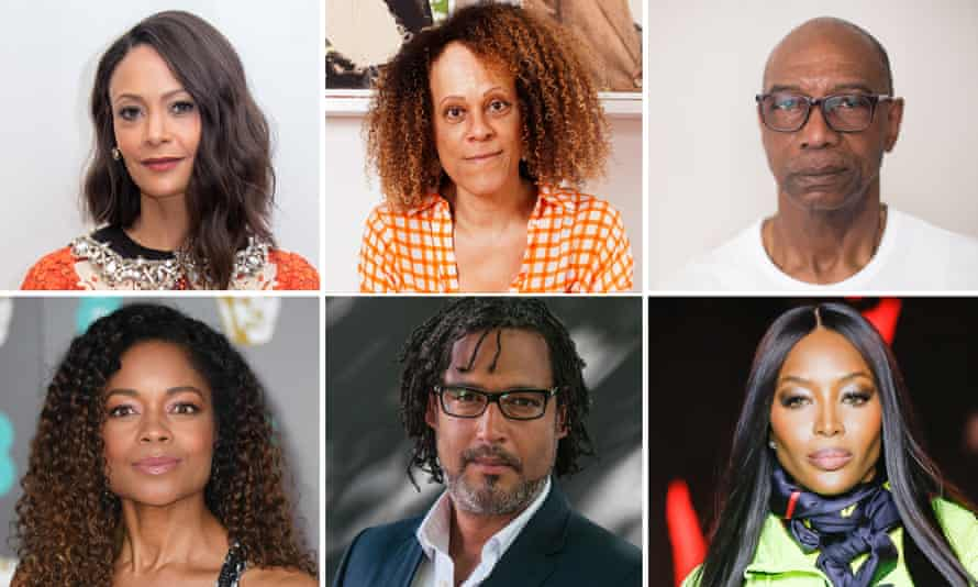 Signatories include (clockwise from top left): Thandie Newton, Bernardine Evaristo, Michael Braithwaite, Naomi Campbell, David Olusoga and Naomie Harris.