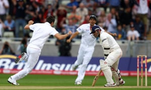 James Anderson celebrates after taking the wicket of Virender Sehwag at Edgbaston in 2011.