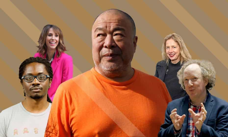 Larry Achiampong, Iwona Blazwick, Ai Weiwei, Alex Jones and Andy Zaltzman.