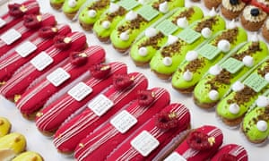 Sweet dreams: red and green vibrant eclairs at Maître Choux.