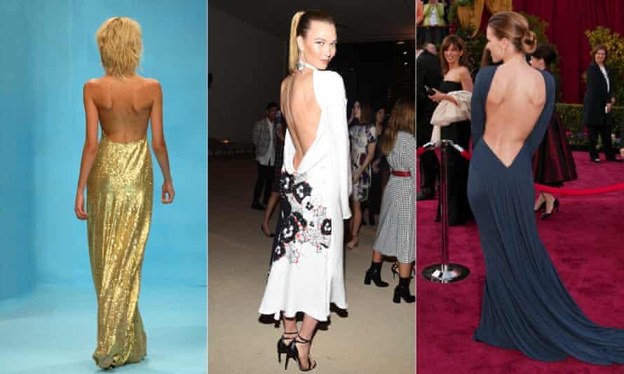 Bone goal … Jasper Conran dress at London fashion week, Karlie Kloss at the CFDA x Vogue Fashion Fund Dinner and Hilary Swank at the Oscars in LA.