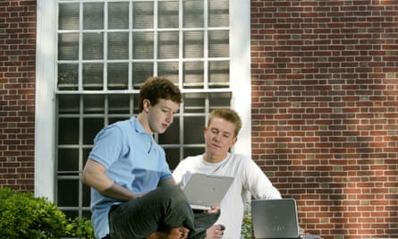 Facebook creators Mark Zuckerberg (left) and Chris Hughes at Harvard in 2004, the year of its launch.
