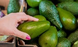 a shopper squeezes avocados
