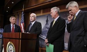 From left: Lindsey Graham, John McCain, Ron Johnson and Bill Cassidy.