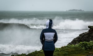 Storm Dennis hits Haryln Bay in Cornwall