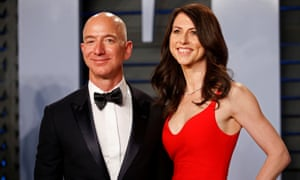 Bezos and his wife MacKenzie at the Vanity Fair Oscars party last year.