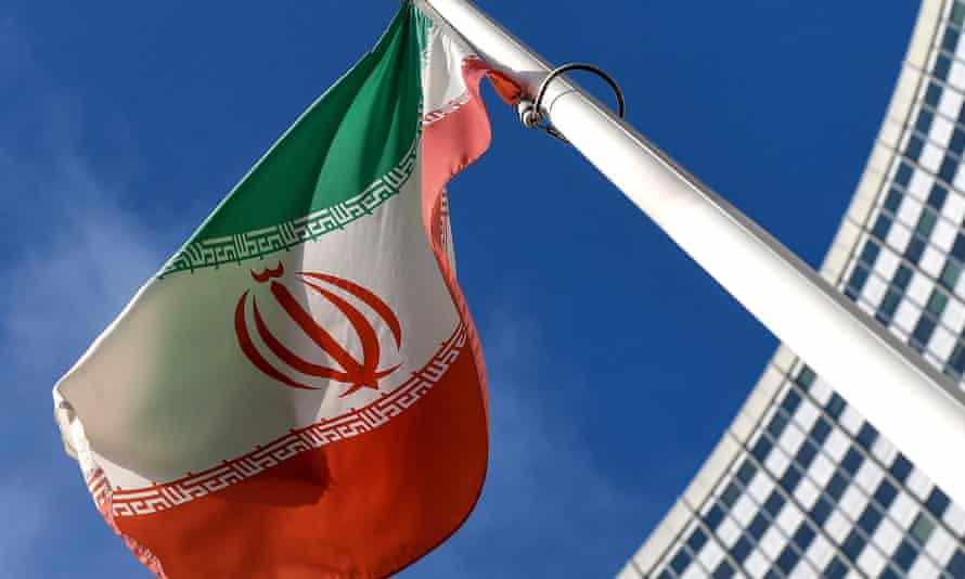 The Iranian flag is seen outside the International Atomic Energy Agency headquarters in Vienna
