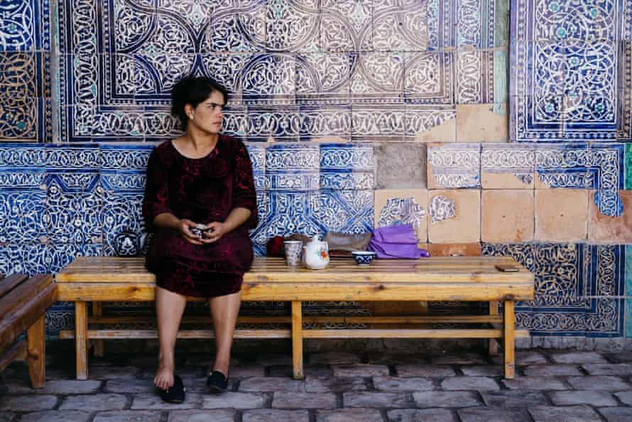 Iconic blue tiles of Khiva, Uzbekistan