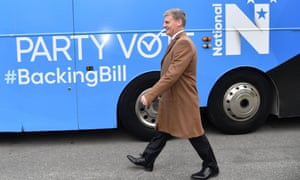 New Zealand's prime minister, Bill English, attends a National party campaign in Wellington.