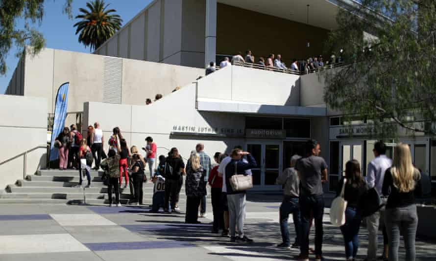 Voters line up at a polling place in Santa Monica, California.