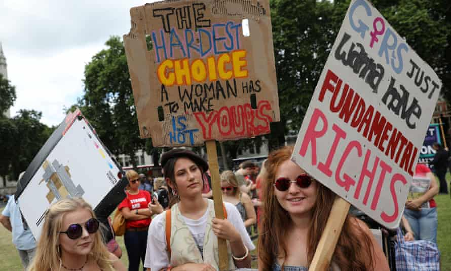 Pro-choice supporters protest in Parliament Square.