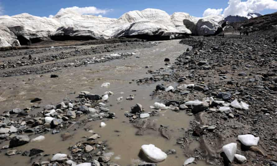 Melting ice of a glacier in Tibet