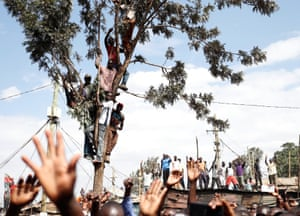Supporters of Kenyan opposition leader Raila Odinga at a rally in the Kibera slum of Nairobi