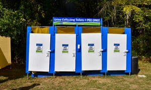 Portable urine-collecting toilets.