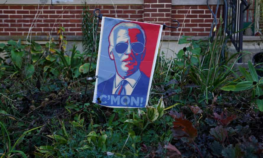 A sign in displayed in a garden of a home in Emmaus, Lehigh county, in the battleground state of Pennsylvania.