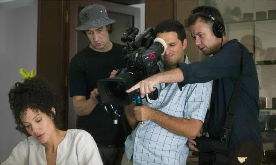 Michael Winterbottom (right) directs Angelina Jolie (left) in A Mighty Heart.