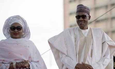 President Buhari with his wife, Aisha, in 2015