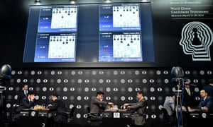 Chess grandmasters compete in the first round of the candidates tournament in Moscow.