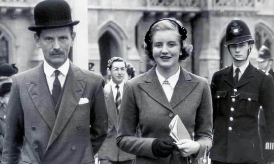 Anne with her father, Lord Glenconner, in 1953.
