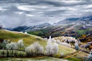 White frost over Pestera village in Romania