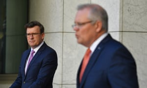 Acting immigration minister Alan Tudge and prime minister Scott Morrison announcing new visa arrangements for Hong Kong citizens in Australia on Thursday.
