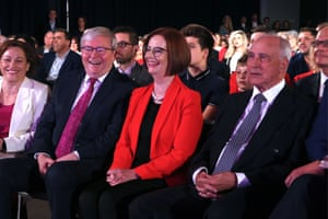 Former Prime Ministers Kevin Rudd, Julia Gillard and Paul Keating at the Labor Party election launch
