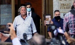 Steve Bannon emerges from the US federal courthouses in Lower Manhattan after pleading not guilty to fraud this week.