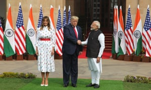 Melania Trump, Donald Trump and Narendra Modi in New Delhi Tuesday.