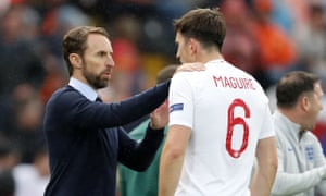 England's manager Gareth Southgate with Harry Maguire at the Nations League game against the Netherlands in June 2019.