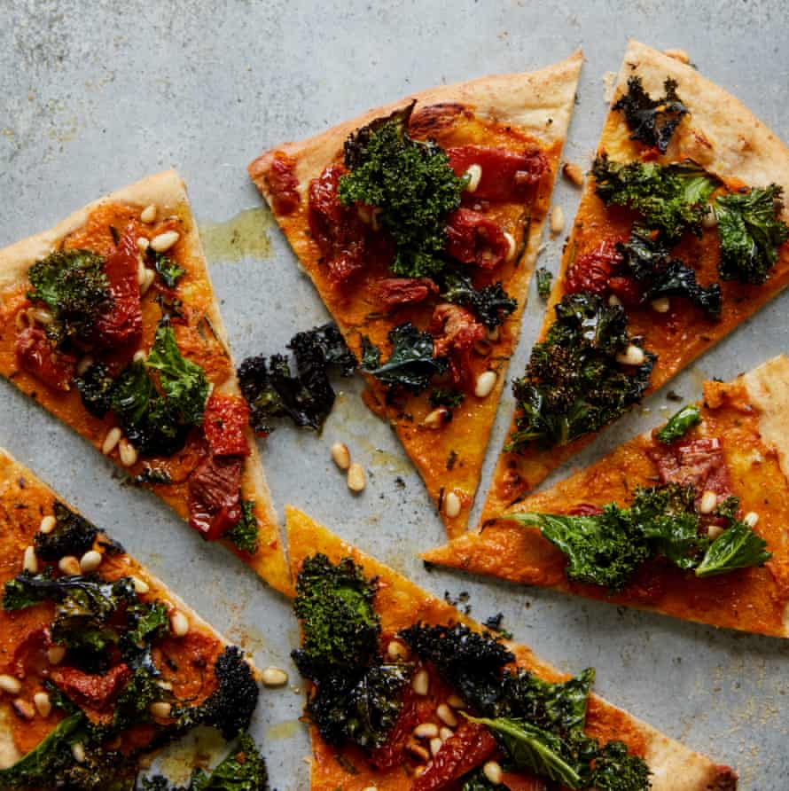 Anna Jones' pumpkin and crispy kale pizza.