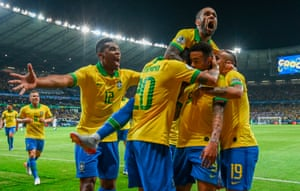 Brazil players celebrate during their 2-0 win over Argentina in the semi-finals.