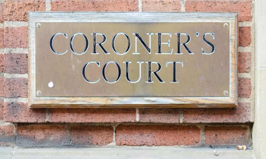 Brass sign saying Coroner's Court