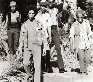 The Wailers in 1973 with Bunny, Bob, Peter Tosh and Aston 'Family man' Barrett.
