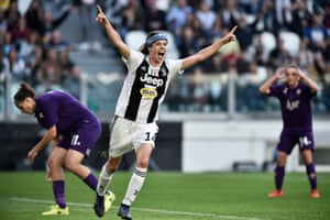 Sofie Junge Perdersen celebrates after scoring for Juve at the Allianz Stadium