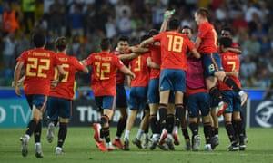 Spain players celebrate winning the 2019 UEFA under-21 final.