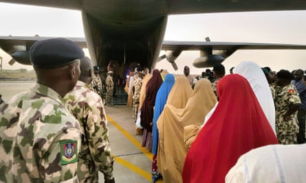 The Dapchi girls, pictured after their release from abduction