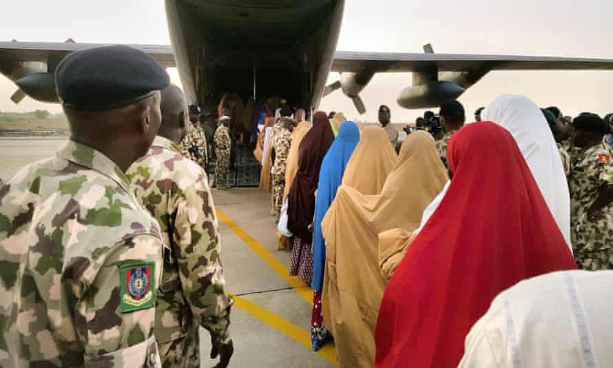 The schoolgirls were sent to meet the Nigerian president, Muhammadu Buhari, after their release.