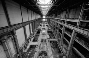 The disused Bankside Power Station, London, in the early 1990s – with generating turbines still in place.