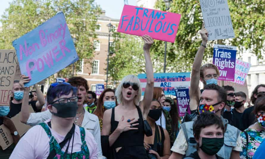 People hold placards saying Trans Fabulous and other slogans