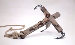 The works on sale include limited-edition crucifixes that have been fashioned into giant grappling hooks.