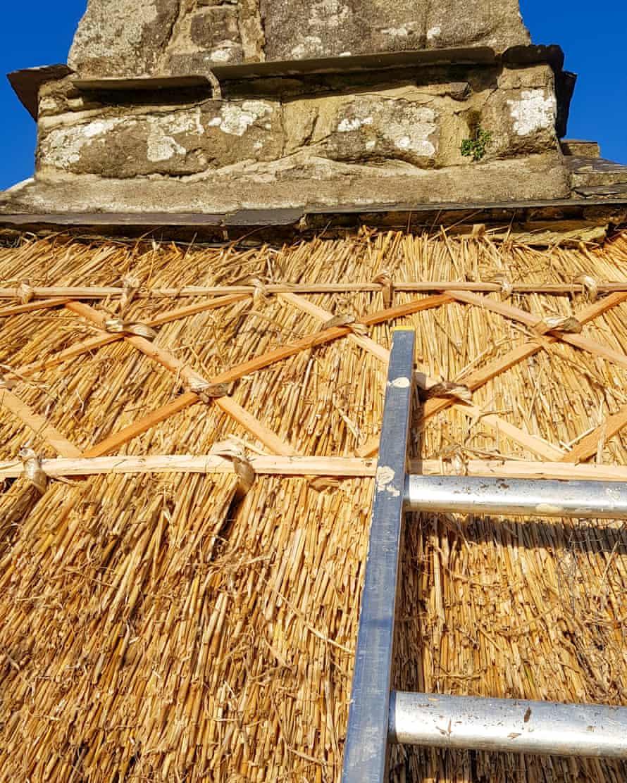 Work underway on the vestry roof