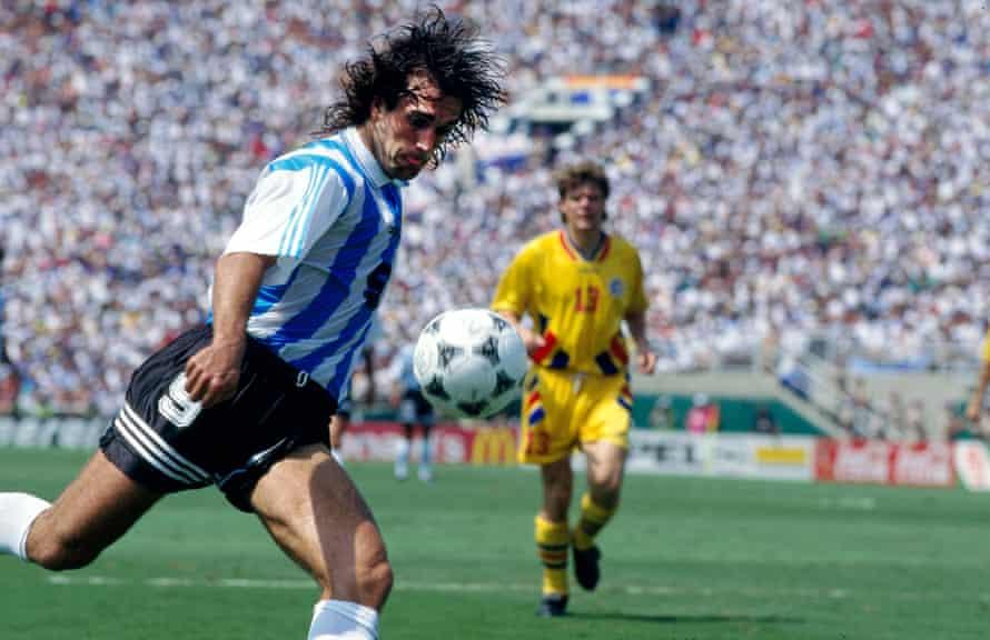 Gabriel Batistuta has a shot for Argentina.