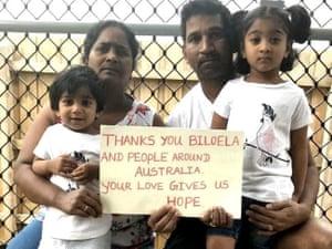 Priya, her husband, Nadesalingam, and their Australian-born children Kopika, 4, and Tharunicaa, 2