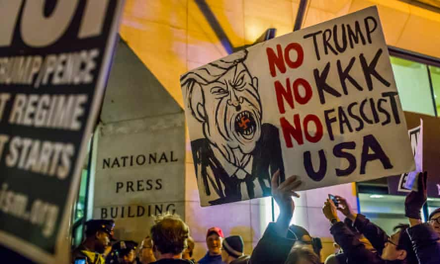 People protest at Trump's inauguration.