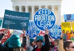 Pro-choice activists supporting legal access to abortion protest outside the supreme court in Washington DC on 4 March.
